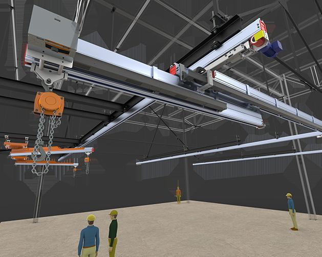 Pont roulant motorisé grande dimension